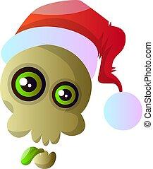 Cartoon skull with red christmas hat vector illustartion on white background