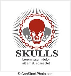 Cartoon skulls design. - Skulls - design for badges, logos...