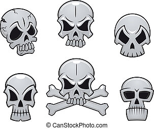 Cartoon skulls set for scary, hallooween or another danger ...