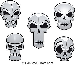 Cartoon skulls set with danger emotions