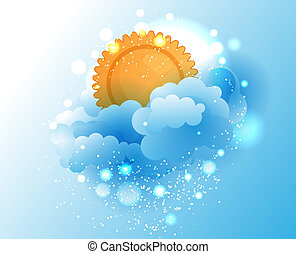 Cartoon sky, cloud and sun