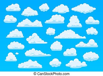 Cartoon sky clouds. Fluffy white clouds in blue sky, bright cloudscape weather atmospheric panorama. Cute clouds of different shape vector cartoon illustration set. Cloudy heaven, overcast sky