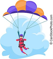 Parachuting extreme sport, falling flat character isolated on white. Vector parachutist