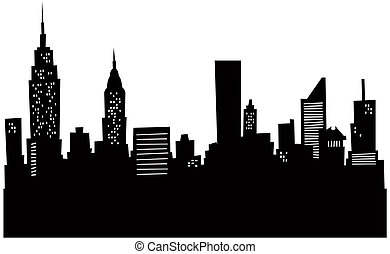 cartoon, skyline ny york
