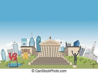Philadelphia - Cartoon skyline view of Philadelphia with ...