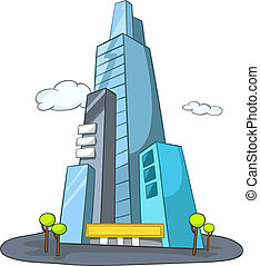 Cartoon Illustration Skyscraper Isolated on White Background. Vector.