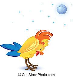 Cartoon sleeping cock