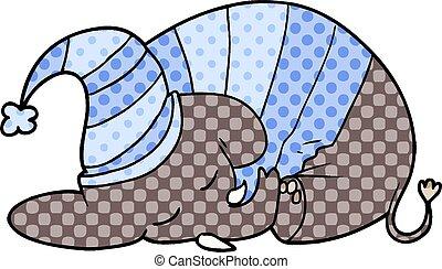 cartoon sleeping elephant in pajamas