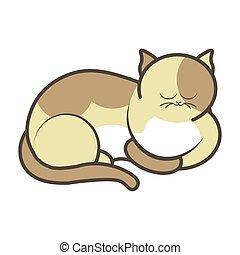 Cartoon sleeping kitten vector illustration isolated. Fluffy cat