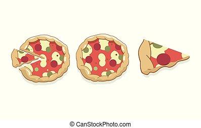 Cartoon Sliced Salami Pizza Isolated on White