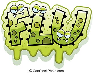 Cartoon Slimy Flu Bug Text - A cartoon illustration of the...
