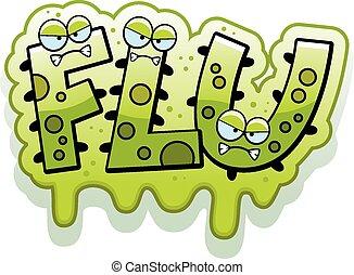 Cartoon Slimy Flu Bug Text - A cartoon illustration of the...
