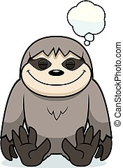 Cartoon Sloth Dreaming