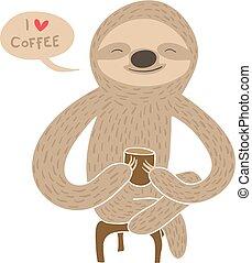 Cartoon sloth having coffee
