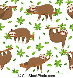 Cartoon sloth seamless pattern. Cute sloths on tropical lianas branches adorable. Lazy jungle animal hanging fabric funny at rainforest trees leaves wildlife textile texture patterns vector background
