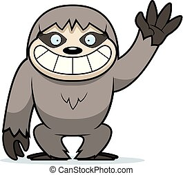 Cartoon Sloth Waving