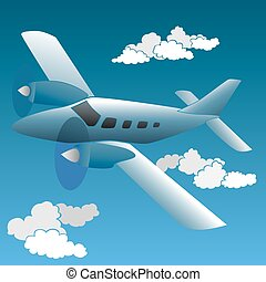 Cartoon small private plane. - Vector illustration of...