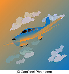 Cartoon small private plane.