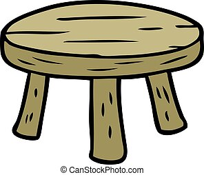 cartoon small wooden stool