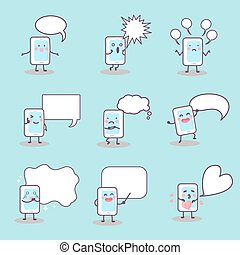 cartoon smart phone speech bubble