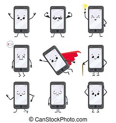 Cartoon smartphone character. Mobile phone mascot with hands, legs and smiling face on display. Happy smartphones vector concept set