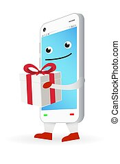 cartoon smartphone with a white gift box