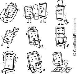 Cartoon smartphones black icon set