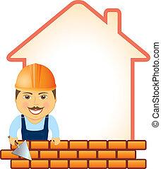 builder with trowel, bricks and hou