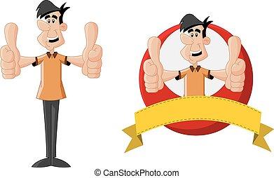 cartoon, smile mand