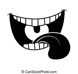 Cartoon smile, mouth, lips with teeth and tongue. silhouette vector illustration isolated on white background