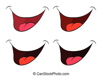 Cartoon smile set, mouth, lips with teeth and tongue. vector illustration isolated on white background