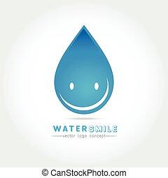 Cartoon smile water drop character