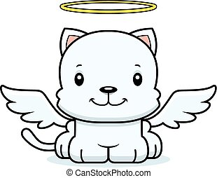 Cartoon Smiling Angel Kitten - A cartoon angel kitten ...