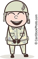 Cartoon Smiling Army Man Face Vector Illustration