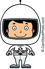Cartoon Smiling Astronaut Boy