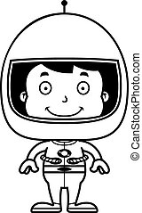 Cartoon Smiling Astronaut Boy