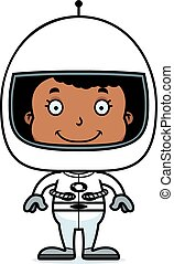 Cartoon Smiling Astronaut Girl