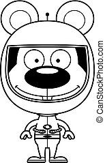 Cartoon Smiling Astronaut Mouse