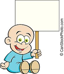 Cartoon Smiling Baby Holding A Sign.