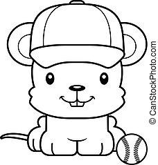 Cartoon Smiling Baseball Player Mouse