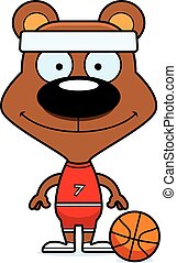 Cartoon Smiling Basketball Player Bear