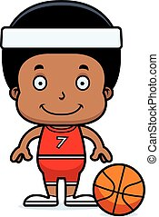 Cartoon Smiling Basketball Player Boy