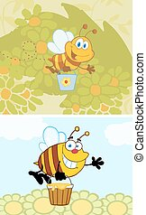 Cartoon Smiling Bee Collection