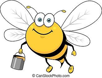 Cartoon smiling bee flying with honey bucket