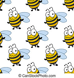 Cartoon smiling bee seamless pattern