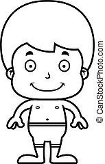 Cartoon Smiling Boy Swimsuit - A cartoon boy smiling in a...