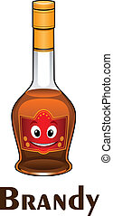 Cartoon smiling brandy bottle character with brown beverage...