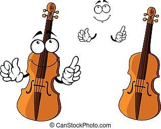 Cartoon smiling brown violin character - Cartoon brown...
