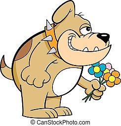 Cartoon smiling bulldog holding flowers.