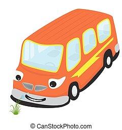 Cartoon smiling bus smelling a flower
